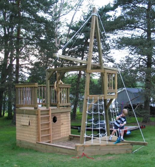 Family designs inc pirate play ship plans for Boat playhouse plans
